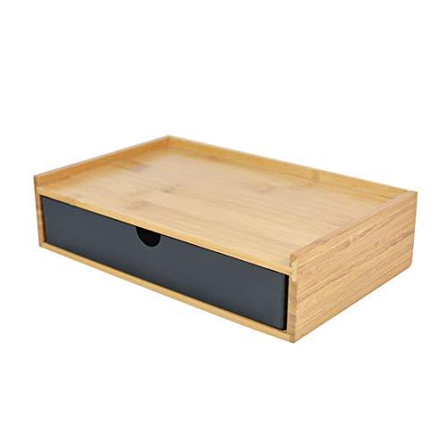 Verve Jelly Desktop Schubladenbox Holz, Aufbewahrungsbox mit Schubladen Vintage Schmuckkästchen Holzkästchen Holzbox mit Schubfach Organizer Holz Tischkommode zur Aufbewahrung (Schwarz, 1 Stöckig)