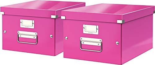 Leitz, Mittelgroße Aufbewahrungs- und Transportbox, Mit Deckel, Für A4, Click & Store (Pink, Mittel   2er Pack)
