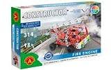 A ALEXANDER 1656 Constructor Feuerwehr Metall Bausatz, 314 Teile Metallbaukasten, Metallbausatz mit Feuerwehrauto, Feherwehr Leiterwagen mit Werkzeug,...