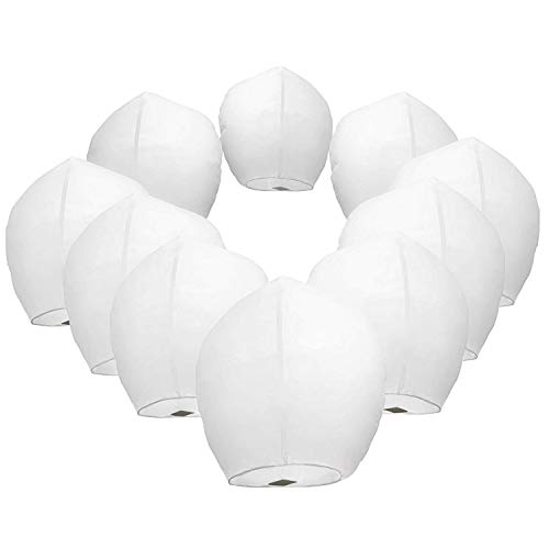Chinese Sky Lanterns White Paper (10) Pack - Ready to Use and Eco Friendly - Extra Large - 100% Biodegradable - Beautiful Night Sky Lantern for Weddings, Chinese Festival, Memorials, etc.