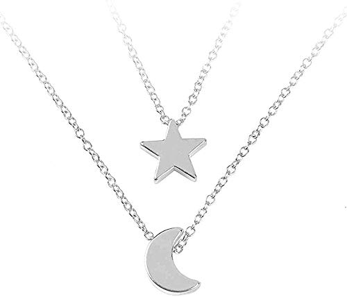 Liuqingzhou Co.,ltd Collarjoyería para Mujer, Pentagrama, Colgante de Luna y Collar, Cadena para Mujer, Colgante de múltiples Capas, Collar de Cadena, joyería