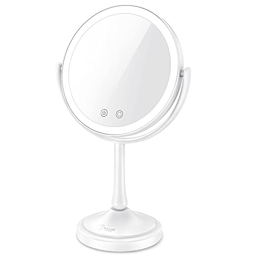 """BESTOPE Makeup Mirror 8.5"""" Lighted Makeup Mirror with Lights,7X Magnifying Mirror with 60 LED Lights, 3 Color Lighting Modes, Dimmable Touch Screen, Double Sided Light Up Mirror"""