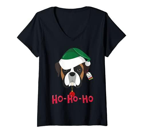 Mujer Boxer Santa Camiseta Navidad niños regalos de Navidad Camiseta Cuello V