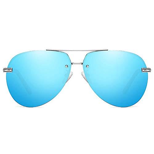 LG Snow Gafas De Sol UV400 Clásicas De Metal Verde/Plateado/Azul for Hombres Y Mujeres con Las Mismas Gafas De Sol Polarizadas. (Color : Blue)