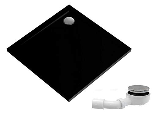 ECOLAM Duschwanne Duschtasse flach Geos Black Viereck 100x100 x 4,5 cm / 1,5 cm Tiefe flach Stein Effekt schwarz + Siphon