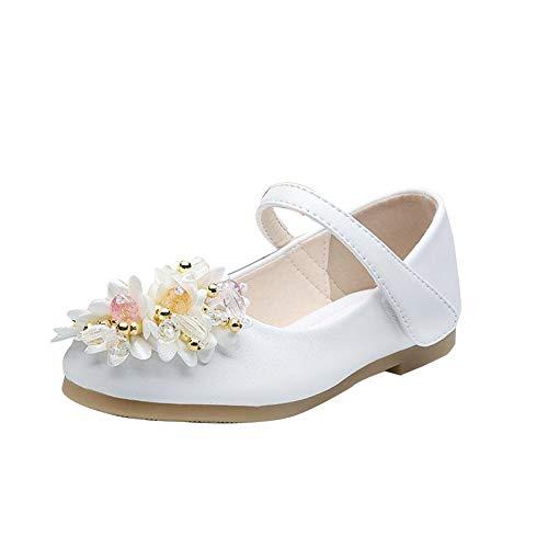 GUOCU Dziewczęce baleriny, buty na lato, buty komunijne, buty dziecięce, dla dziewczynki, buty do aktywności na świeżym powietrzu, buty dla księż, wielokolorowa - biały - 30 EU
