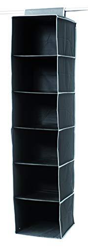 Compactor Organizer Portatutto A Sospensione, 6 Scomparti, Fissaggio con Velcro, Fino a 6 kg, Nero, Gamma Urban, 30 x 30 x H 128 cm, RAN6275