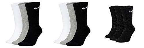 Nike Everyday CUSH Crew Calcetines para hombre, color blanco, gris, negro gris, gris y negro. 34-38