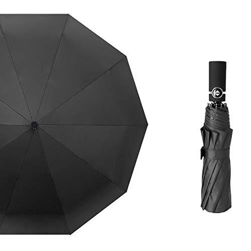 Yi-xir Experiencia Confortable Hombres y Mujeres Totalmente maquinaria Plegable Paraguas de Negocios Paraguas de Viaje Compacto (Color : Black)