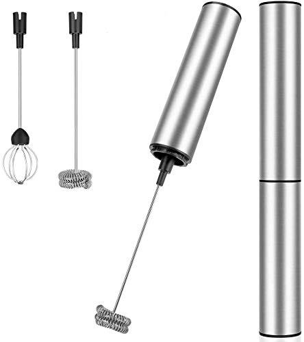 Linkax Montalatte Elettrico,Frullino Montalatte USB Ricaricabile Schiumatore Cappuccinatore,Potente Schiumalatte Elettrico in Acciaio per Latte,Uova, Cappuccino, Caffè