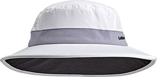 Coolibar UPF 50+ Kid's Fore Golf Hat - Sun Protective (Small/Medium- White/Steel Grey)