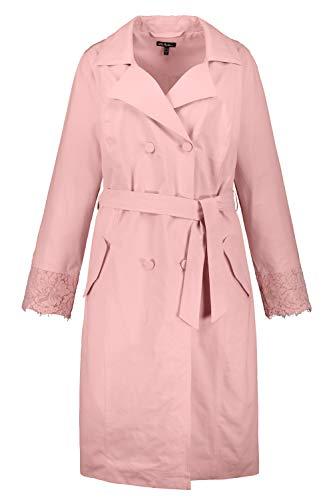 Ulla Popken Femme Grandes Tailles Trench-Coat, Dentelle, Doublure, Boutons Rose Tendre 52/54 747414 56-50+