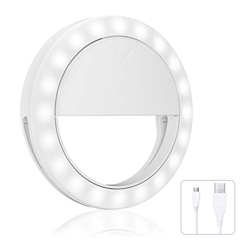 Mini Selfie Light Hiya-Naya Ring Lights Hollow Selfie Light-Rechargeable Increased Battery Capacity Portable Clip-on Selfie Fill Light 4-Level Brightness for Phone, IPad, PC