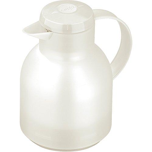 Emsa 504687 Samba Isolierkanne (1 Liter, Quick Press Verschluss, 12h heiß, 24h kalt) weiß transluzent