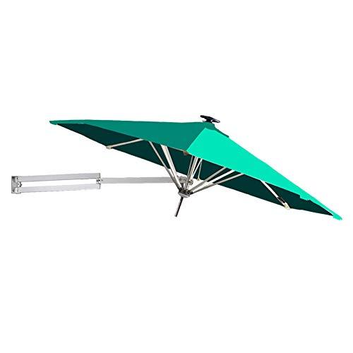 HYDT Sombrilla de Patio Sombrilla de Patio de Pared para Balcón de Jardín Al Aire Libre, Sombrilla de Aluminio para El Mercado, Toldo de Ø250cm / 8 Pies (Color : Dark Green)