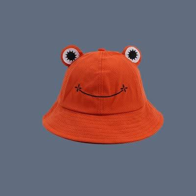 Sombrero de cubo de rana a la moda para mujer, nuevo sombrero de verano, gorra de pesca de rana para padres e hijos, sombrero de sol lindo salvaje coreano, sombrero de cubo de ojos grandes-Orange-1-S