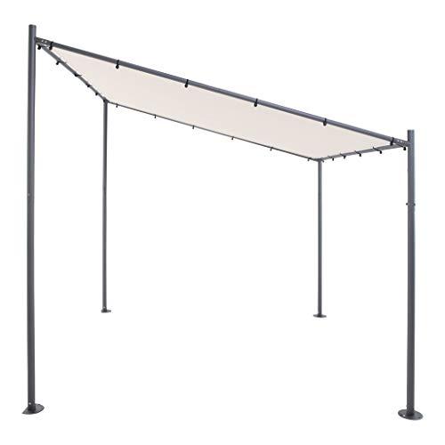 SORARA Milano Wand Gazebo | Grau, Schwarz-Rahmen | 285 x 300 cm (T x B) | Modern Style Außen Canopy und Shelter Pergola Pavillon | Anstellpavillon