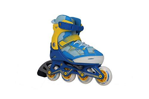 Oxelo 8379656 Fit 3 Kids' Inline Skates, UK 2.5-5 - EU 35-38 (Blue/Yellow)