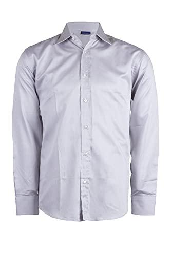 In Extenso Camisa de hombre de puro algodón a rayas, gris, XL