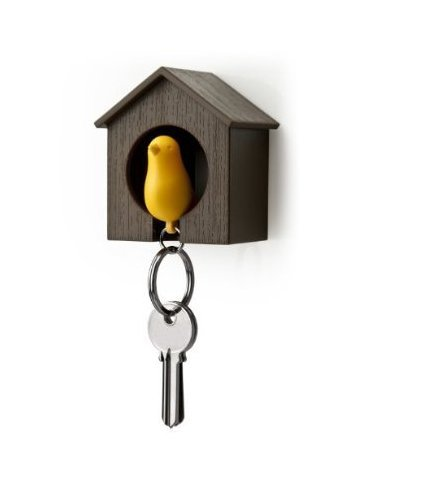 Nalmatoionme amarillo pájaro pajarera llavero–marrón