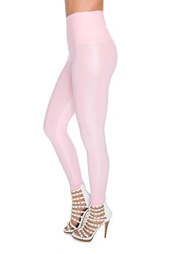 FUTURO FASHION Sexy glänzend Wet Look & Mat voller Länge Leggings hohe Taille Latex Kunstleder Rosa 36 EU
