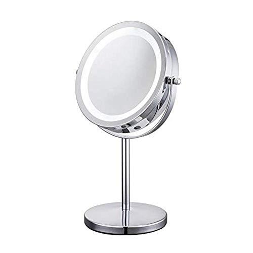 DCLINA Espejo Maquillaje Miroir Table Avec lumière LED 1/10X - Miroir cosmétique - 17, 8 cm