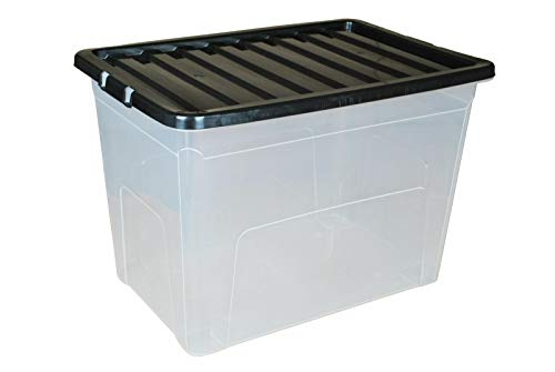 VTL® 5 x 80L 80 Litre X Large Plastic Storage Clear Box Strong Stackable Container Black Lid (Pack of 5) MADE IN UK