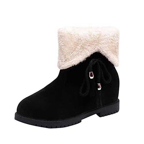 RTPR Botines para mujer, botines con tacón cuadrado retro, ante para otoño e invierno, botas de trabajo, botas de nieve para mujer, Negro , 40 EU