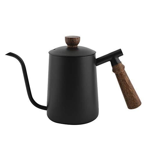 Coffee Pot`600ml Hervidor de cuello de cisne de acero inoxidable Goteo sobre cafetera con mango de madera