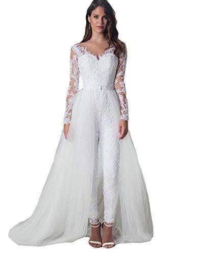 The Peachess Jumpsuit Brautkleider mit deatablem Zug Lange Ärmel Spitze Applikation Brautkleider - elfenbein - 42