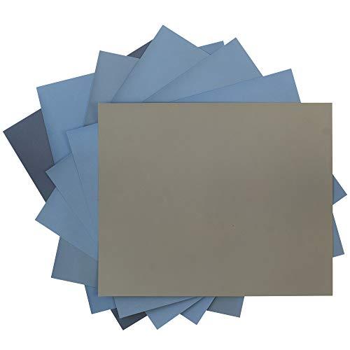 SCHLEIFKÖNIG | 12 Blatt Wasserschleifpapier Set | Made in Germany | Je 3 Blatt 800 1000 1200 1500 2000 3000 | Nassschleifpapier Sortiment Fein