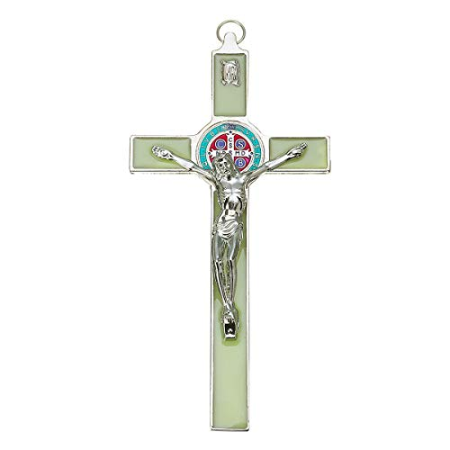 Crucifijo de pared de Jesús en el soporte, de 17,78 cm, color verde envejecido, para decoración de pared, cruces, 3 órdenes de decoraciones