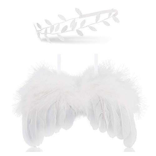 ZEEREE Recien Nacido Fotografia Kit, Accesorios Fotografia Bebe Recien Nacido Alas de Angel Bebe Blancas con Diadema Plata Set