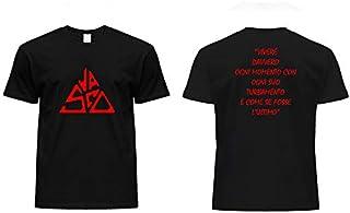 T Shirt Maglia Maglietta Personalizzata Colore Nero con Logo e Scritta Vasco Rossi Vivere Tributo