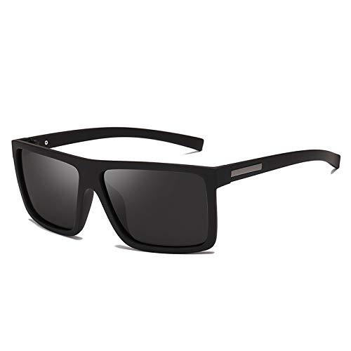 HNGM Gafas de Sol Gafas de Sol para Hombre Gafas de Sol Planas polarizadas Polarizadas Conducción de Gafas de Sol Rectángulo de los Hombres (Lenses Color : Sand Black)