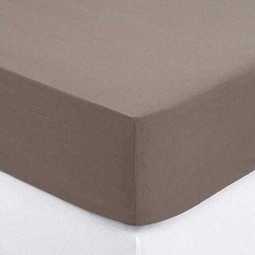 DRAP HOUSSE-ATMOSPHERA 160 X 190 - TAUPE