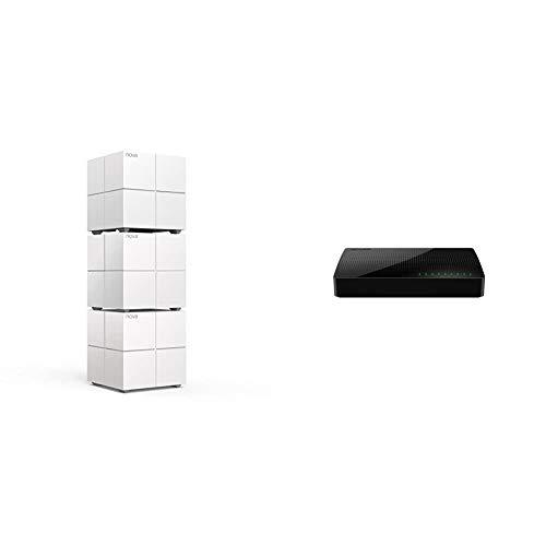 Tenda Nova MW6 3X echtes Dual-Band Mesh WLAN Komplettlösung (Bis zu 500m² WLAN, 3X Stationen, 6X Gigabit Ports) Ersetzt Router, Powerline & Repeater & SG108 8 Port Gigabit Desktop Switch, schwarz