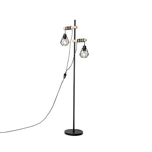 QAZQA rústico Landelijke vloerlamp zwart met hout 2-lichts - Chon Acero/Madera Alargada Adecuado para LED Max. 2 x 40 Watt