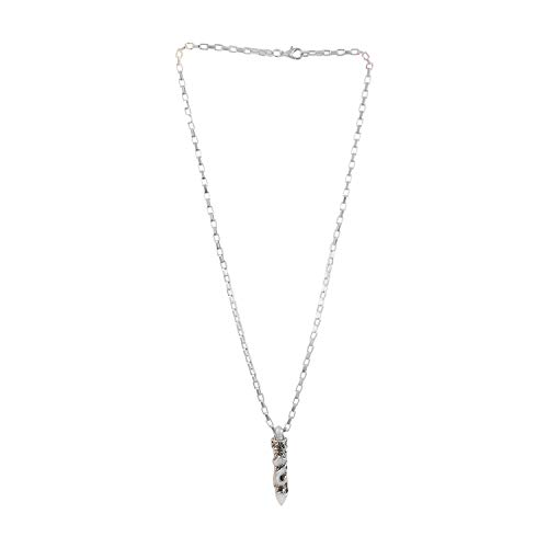 Sarah Dragon Bullet Chain Cord Pendant Necklace for Boys and Men, Silver