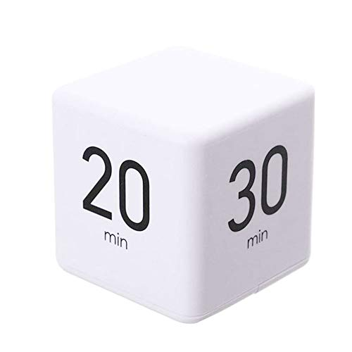 Gcroet Cube Timer Kids Workout Timer Digital Timer Wecker Pomodoro Timer Minuten Cube Timer Zeit 15 60 Minuten (weiß)