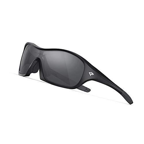 TOREGE Polarized Kids Sports Sunglasses Cycling Running Baseball Golf for Boys Girls Age 3-6 TR17 (Black&Black&Grey lens)