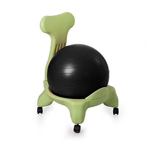 Kikka Active Chair Verde con Palla Nera - Sedia ergonomica con Pallone Gonfiabile