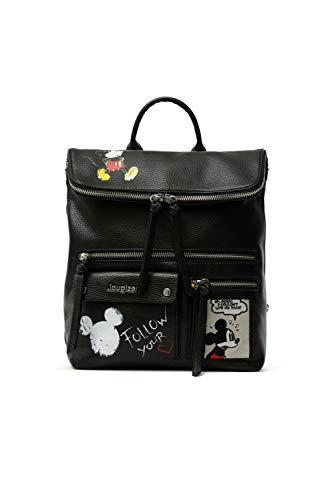 Desigual PU Backpack Medium, Gorilla Sports - Mochila de poliuretano (tamaño mediano) para Mujer, Negro