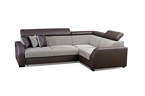 Canapé d'angle 4 places Marron Tissu Confort