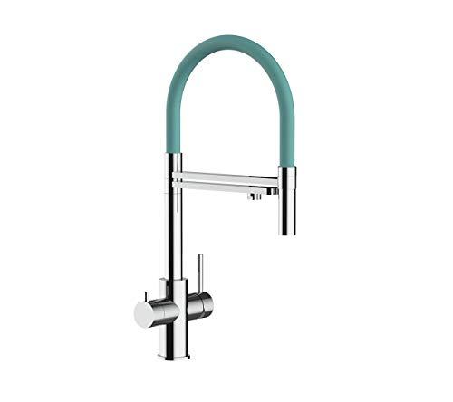 Rubinetto con filtro a 5 vie ideale per sistemi professionali di acqua frizzante, naturale e raffreddata - Finitura lucida (Turchese Tiffany)