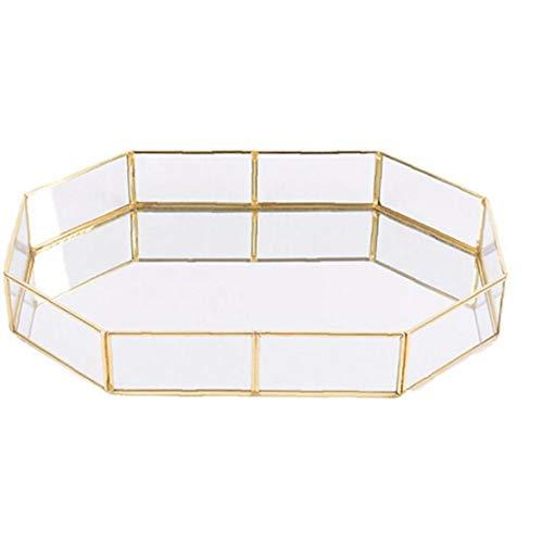 Heall 1PC Decorativo de Cristal Bandeja Polígono Grandes Joyas de Oro-Plateado Plato de latón de la Vendimia Bandeja de la Mesa de Centro de Perfume Bandeja 12.38'* 8.45' * 1.97