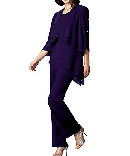Pretygril Frauen 3 Stücke Rüschen Chiffon Mutter der Braut Kleid Hose passt halbe Hülse mit Jacke für Hochzeit(US 16, Purple)