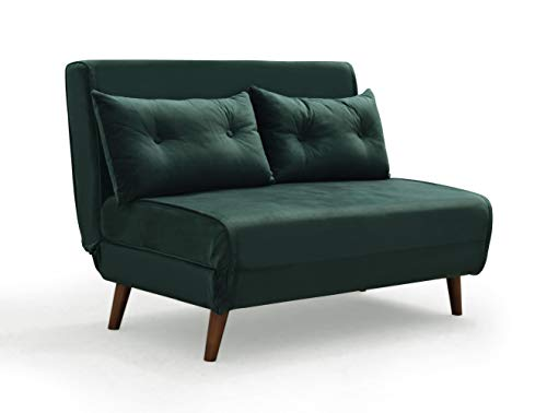 Cherry Tree Furniture ALGO 2-Seater Small Double Folding Sofa Bed with Cushion, Pine Green Velvet