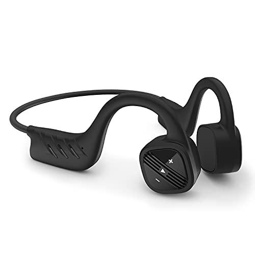 Segorts Auriculares con sonido de hueso con Bluetooth IPX8, resistentes al agua 32 G, con micrófono, inalámbricos, reproductor de música MP3, a prueba de polvo, para deportes, ciclismo, correr
