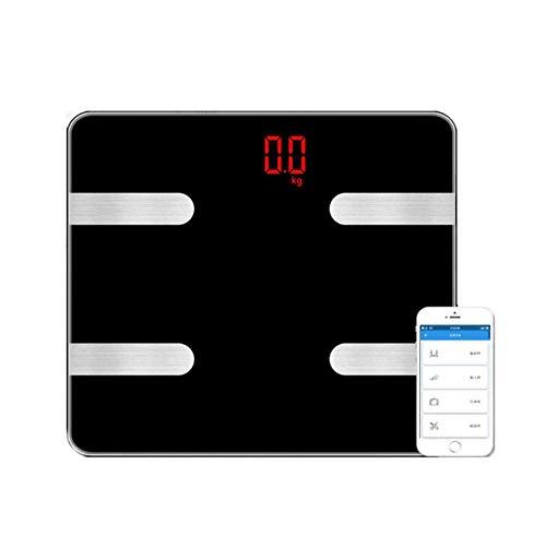 PYROJEWEL Balanza Inteligente Peso de Escala, balanza Digital de baño Báscula de Suelo Humano con la Escala de Bluetooth, 180Kg / 400 Libras Negro
